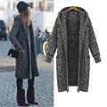2016 зимние дамы ретро разное линии свободно 5 xl супер длинный большой ярдов утолщение с капюшоном свитер кардиган пальто женщин