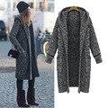 MCKIKI 2016 invierno de las señoras elegantes 5 xl super grandes yardas de largo engrosamiento suéter encapuchado cardigan de lana delgada de las mujeres abrigo Negro