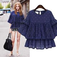 Queechalle Butterfly sleeve big size chiffon blouse 2018 Summer female dots casual loose shirt 3XL 4XL 5XL plus size women tops