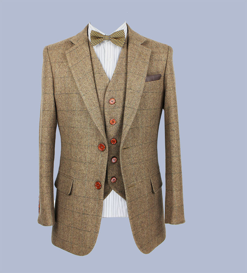 Aliexpress 2016 Tailor Made Slim Fit Suits For Men Retro Brown Herringbone Tweed Custom Mens 3 Piece Suit Blazers From Reliable