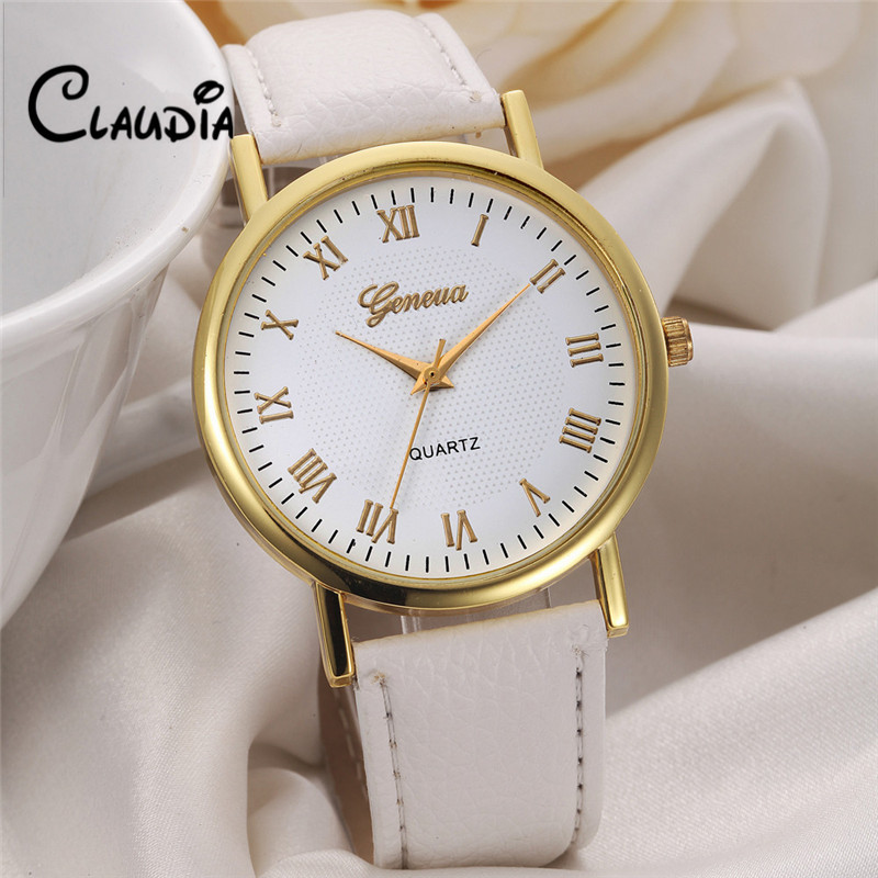Hot sale FreeShipping CLAUDIA Geneva Fashion Unisex Leisure Dial Leather Band Analog Quartz Wrist font b