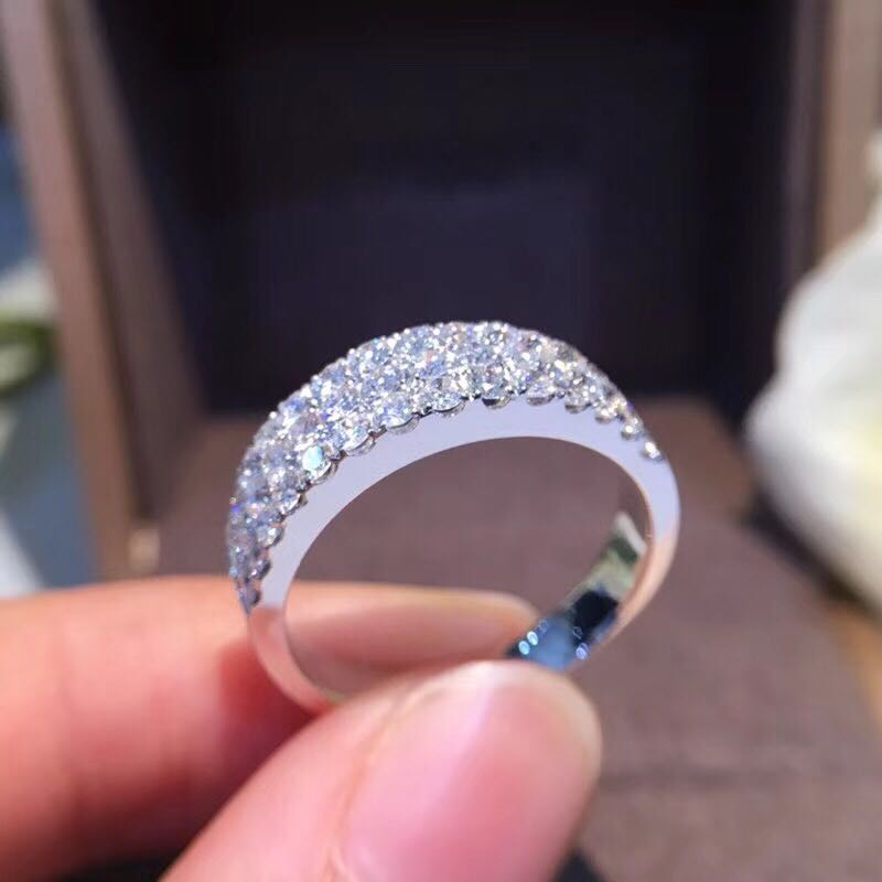AEAW 1.2CTW Carat F Couleur Lab Grown Moissanite Round Diamond Engagement Wedding Band 925 Argent Pour Les Femmes