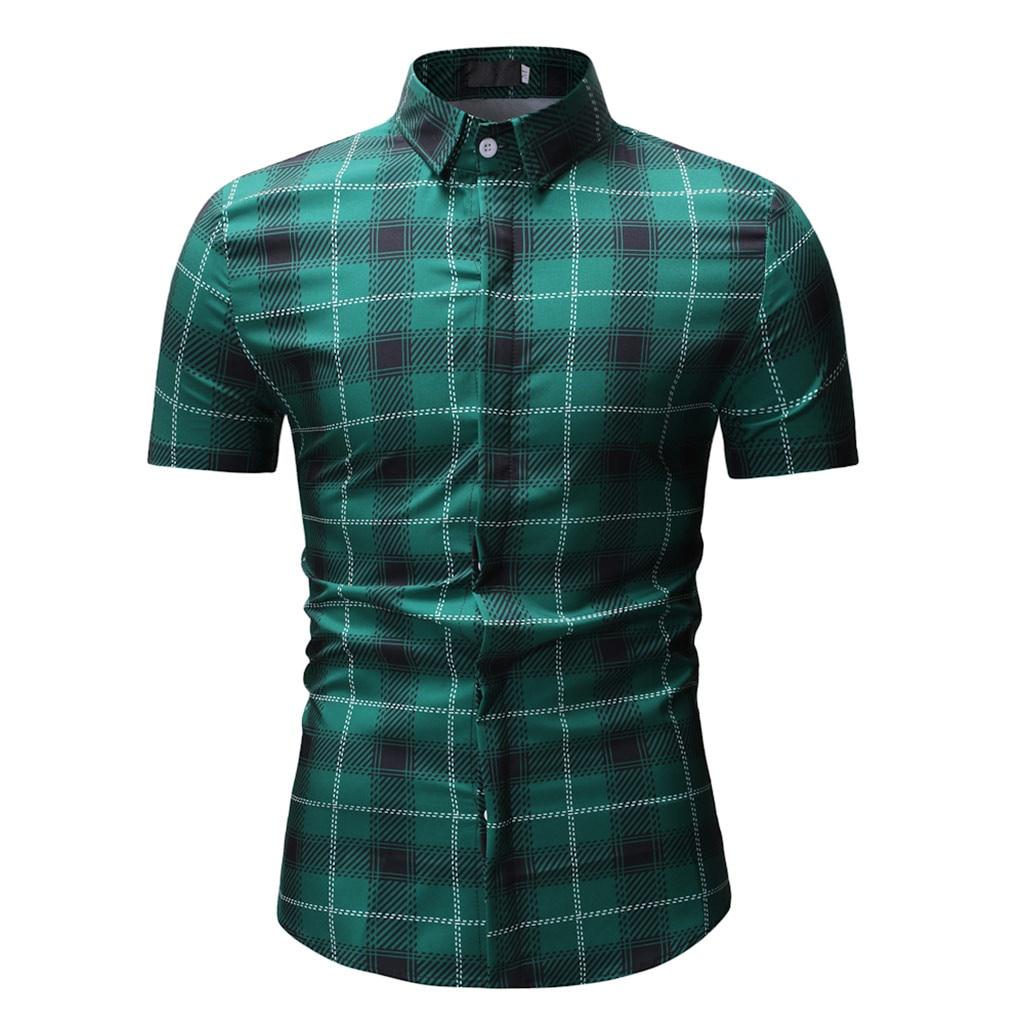 Romantisch 2019 Muqgew Mens Fashion Gedruckt Hemd Casual Kurzarm Dünne Hemden Grün Neue Heiße Mens Shirts Camisas Hombre Manga Corta Hemden