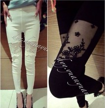 plus size sexy legging women summer style 2016 bermuda feminina stitch black white lace pants female A0837