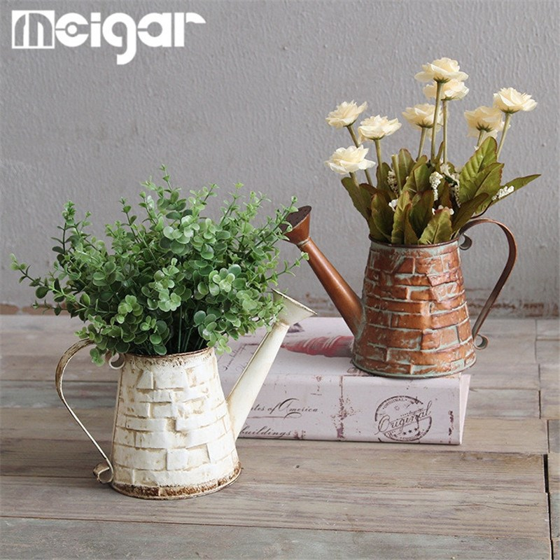 2 Colors Iron Brick Design Vase Garden Water Can Flower Planter Water Pot  Nursery Pots Storage Basket Home Room Decoration In Vases From Home U0026 Garden  On ...