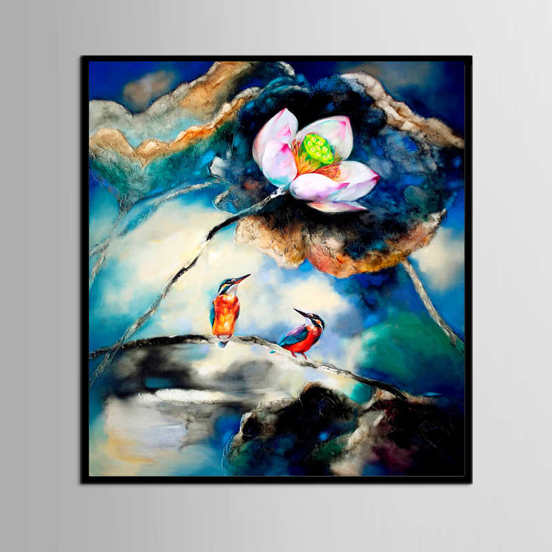 (No Framed) Factory wholesale Abstract flower and bird illustration Custom Canvas Print On Canvas Printing Wall Pictures