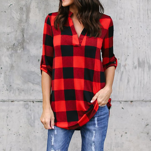Plaid Women's Blouses Plus Size 5XL Check Shirt V Neck Long Sleeve Female Vintage Shirts