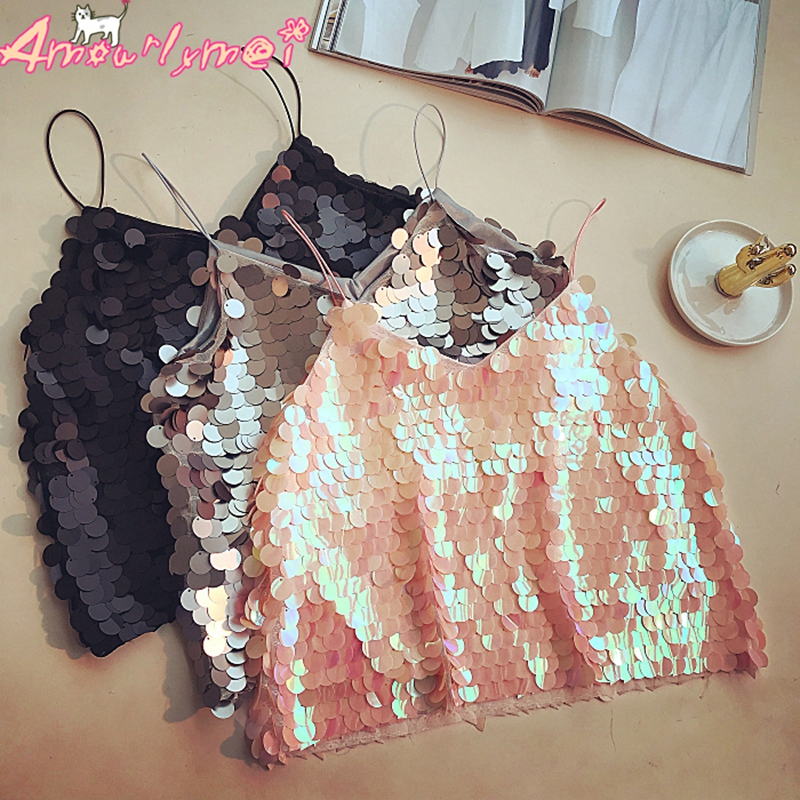 Sequin Cami Sexy Crop   Top   Summer Women   Tanks     Top   Slim Backless Camisole Cropped   Tops