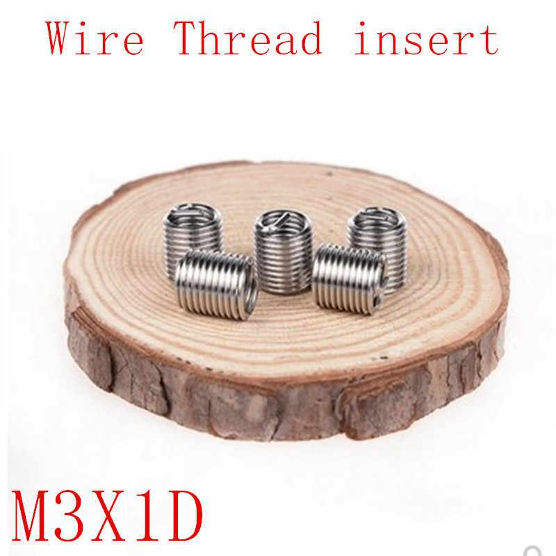 50 Pcs M3 * 1D Enrolado Fio de Aço Inoxidável Inserções de Rosca de Parafuso Helicoidal M3 x 0.5 x 1D Parafuso Bucha parafuso de batida do auto ferramenta de reparo de rosca