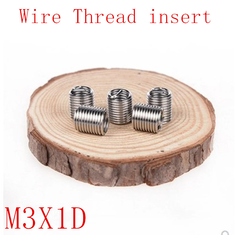50Pcs M3*1D Stainless Steel Coiled Wire Helical Screw Thread Inserts M3 X 0.5 X 1D Screw Bushing Self Tapping Thread Repair Tool