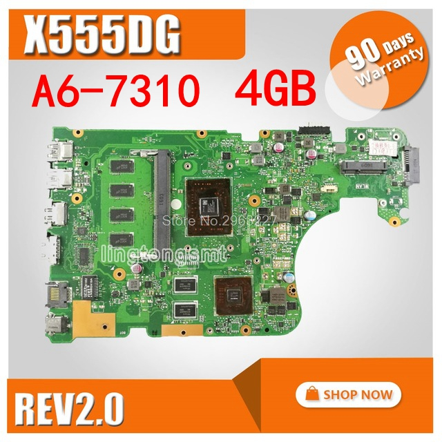 x555y - X555DG Laptop motherboard for ASUS  X555Y X555YI X555D X555DG original X555DG mainboard with A6-7310 CPU 4GB RAM Test OK