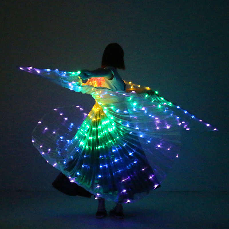 Oryantal dans LED kanatları Light Up kanat kostüm LED dans kanatları gökkuşağı renkleri sahne performansı sahne sopa ile