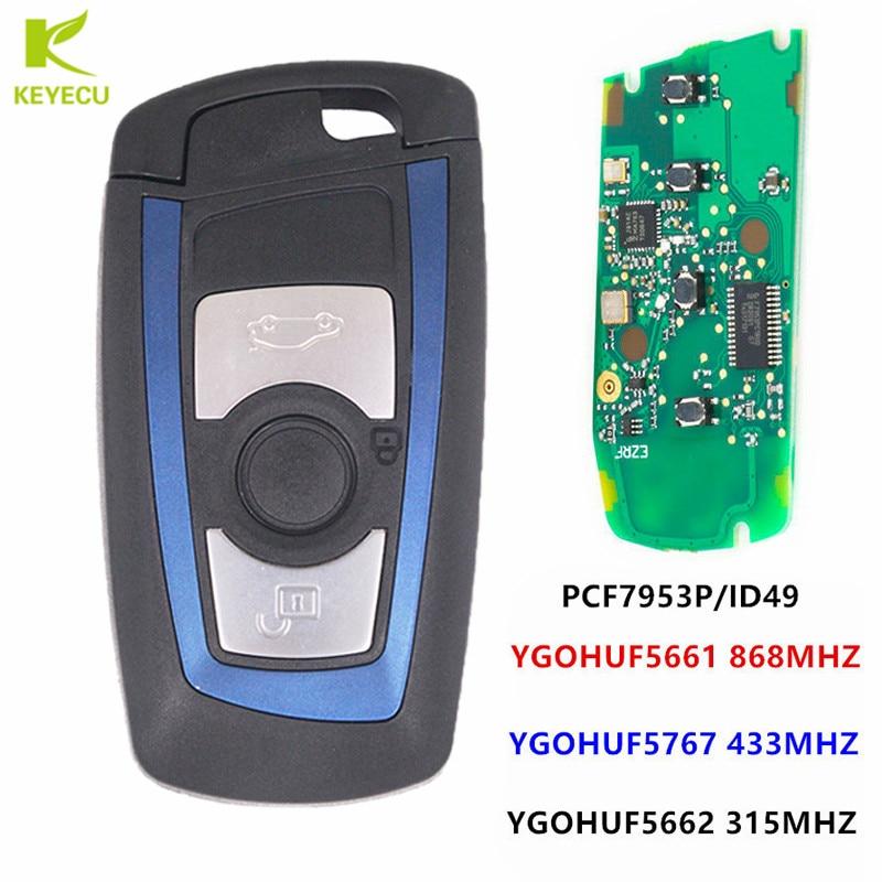 KEYECU Blue Remote Key Fob 315MHz YGOHUF5662,434MHz HUF5767,868 MHz HUF5661 For 2009-2016 BMW 5 7 F Series FEM / BDC CAS4 CAS4+