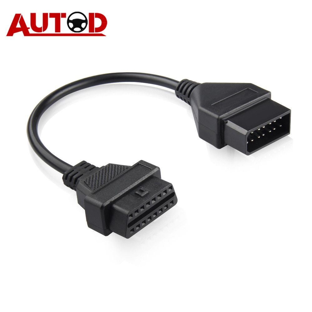 <font><b>OBD2</b></font> Cable for Nissan 14PIN OBD Connector <font><b>14</b></font>-16PIN Diagnostic Cable Auto Connector <font><b>14</b></font> <font><b>PIN</b></font> Cable <font><b>Adapter</b></font> for Nissan14 image