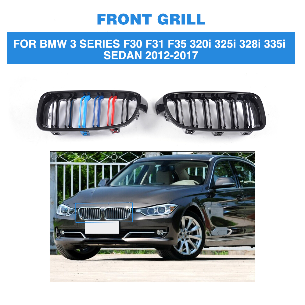One Pair Front Gloss Black There color Grilles For BMW 3 Series F30 F31 F35 320i 325i 328i 335i Sedan 4 Door 12-17 Car Styling