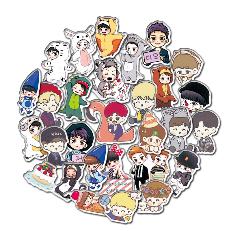 59 Pcs Cartoon EXO Stickers For Car Styling Bike Motorcycle Phone Laptop Travel Luggage Stationery Sticker