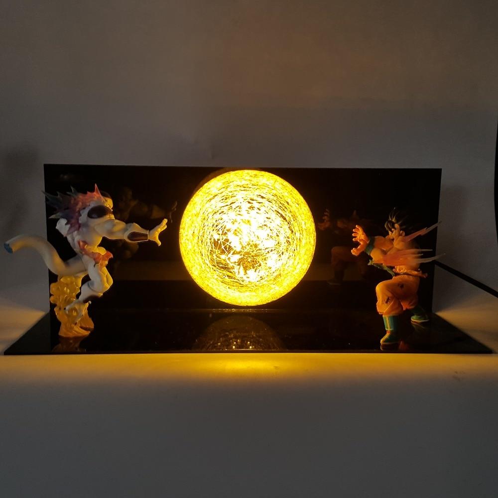 Dragon Ball Z Son Goku VS Freeza DIY Led Table Lamp Dragon Ball Super DBZ Son Goku Lampara Luces Led Decoracion Dormitorio dragon ball z goku with effect diy led night lights lamp anime dragon ball dbz son goku led lamp christmas decor lampara led