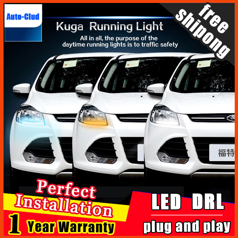 Car Styling LED Fog Lamp for Ford Kuga DRL 2013-2015 Escape COB Signal DRL Running Light Fog Light Parking 2 function akd car styling led drl for toyota corolla 2014 2015 new altis eye brow light led external lamp signal parking accessories