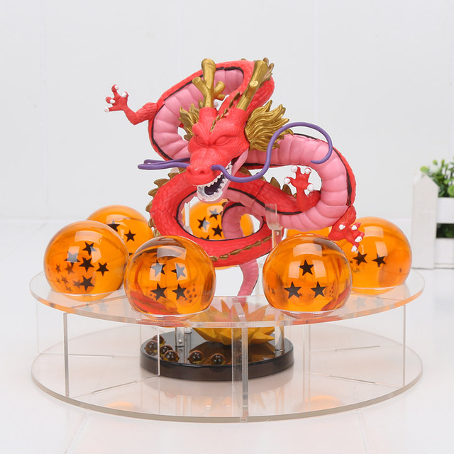 Red Shenron Action Figure + 7PCS Crystal Dragonballs + Acrylic Shelf