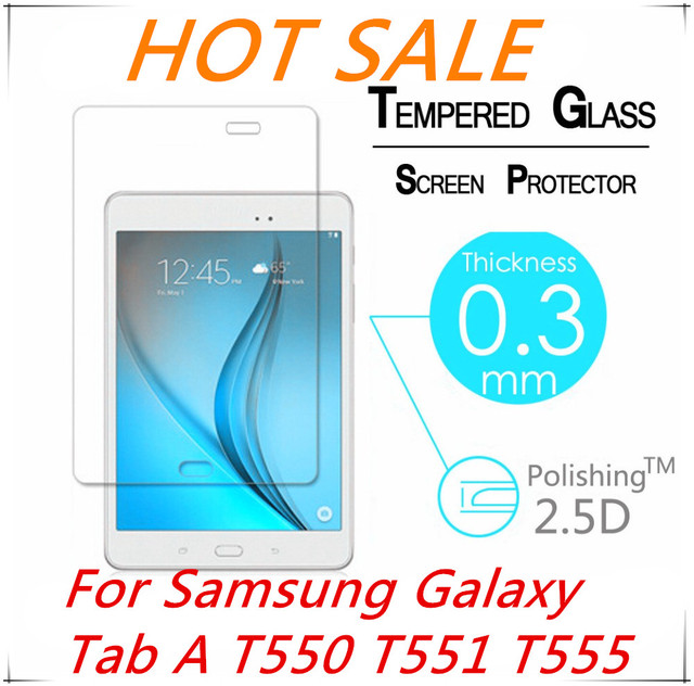 """9H 2.5D Explosion-Proof Toughened Tempered Glass For Samsung Galaxy Tab A T550 T551 T555 9.7"""" Film Clear Screen Protect Cover"""