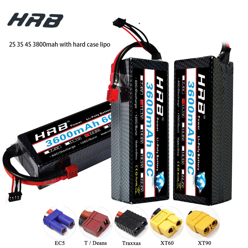 HRB Lipo Battery 2S 3S 4S 3600mAh 60C 7.4V 11.1V 14.8V Lipo XT60 Hard Case For 4x4 rc monster truck Cars Boats 1/8 1/10 image