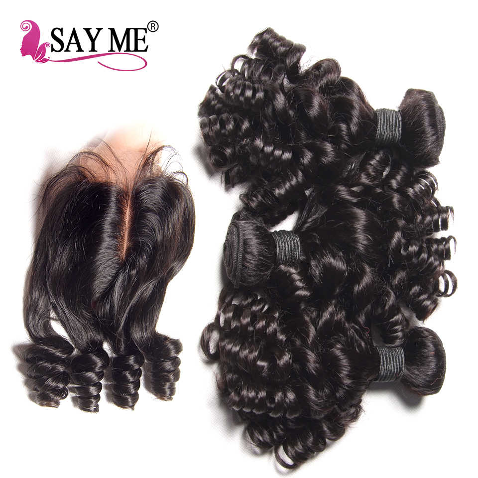 SAY ME 3 Bundle deals Bouncy Curly Human Hair Weave Bundles With Closure Funmi Peruvian Hair Bundles with closure Remy 1B