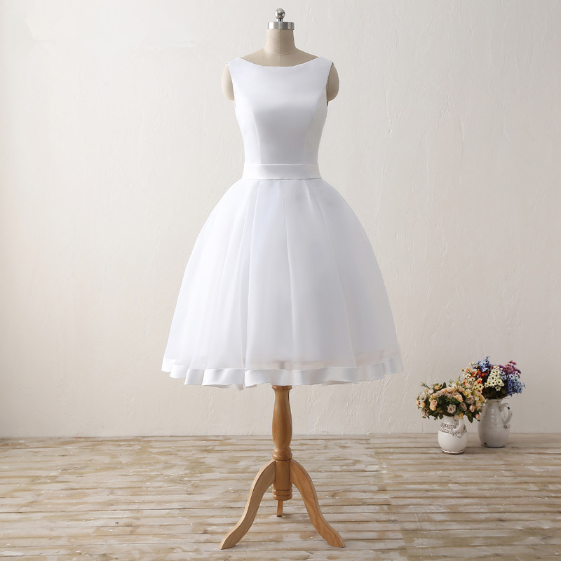 Simple Cheap Short Wedding Dresses 2017 White Knee-Length Wedding Bridal Gowns Sleeveless Scoop Neck Bow Back Robe De Mariage 1