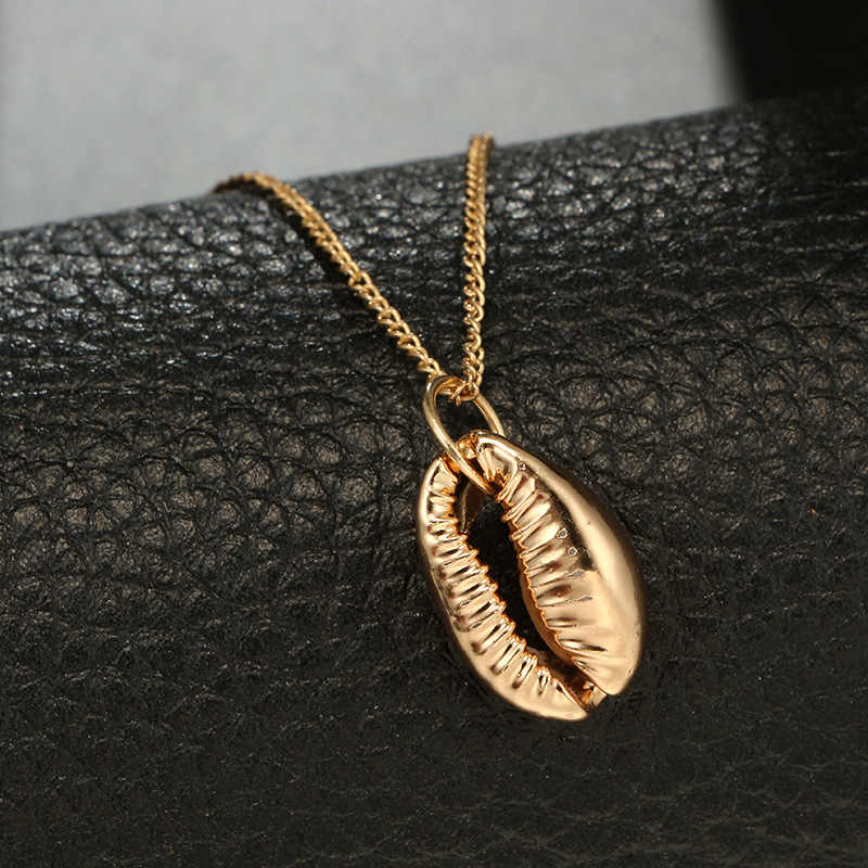 Concha Cor de ouro Colar de Concha de Moda Para As Mulheres Do Vintage Pingente Simples Seashell Oceano Praia Jóias Acessórios