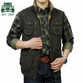 AFS JEEP 100% Cotton High Quality Original brand Men's plus size Vest,Army Green Gray Military Cargo Sleeveless Jacket