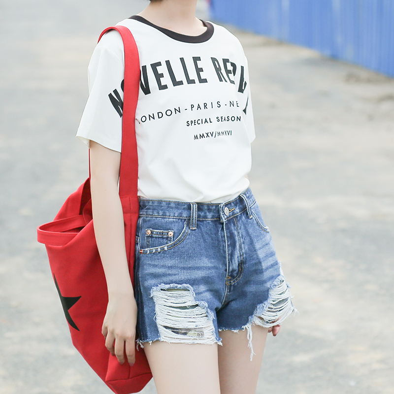 Vetevidi verano cintura alta costura agujero roto pantalones cortos ...