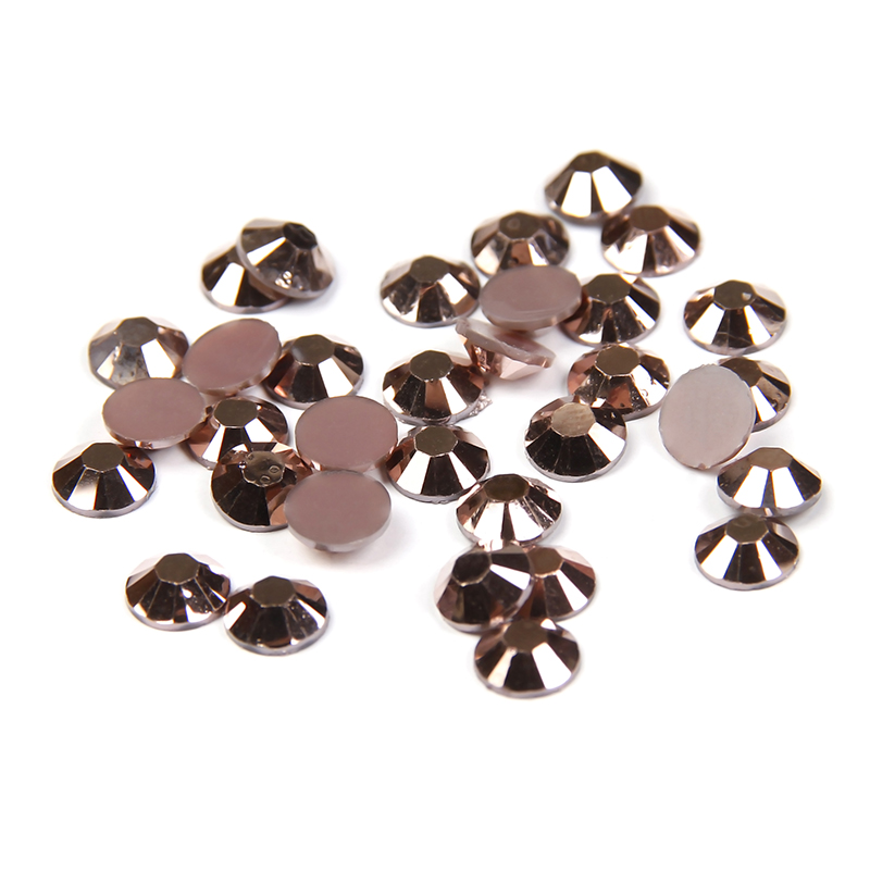 Non Hotfix Stones Round Flatback Crystal Resin Rhinestones 2-6mm Copper Color 14 Facets Nail Art Decoration DIY Use Glue 400 pcs 2mm 6mm resin acrylic black round rhinestone flatback crystal rhinestones nail art decoration n02