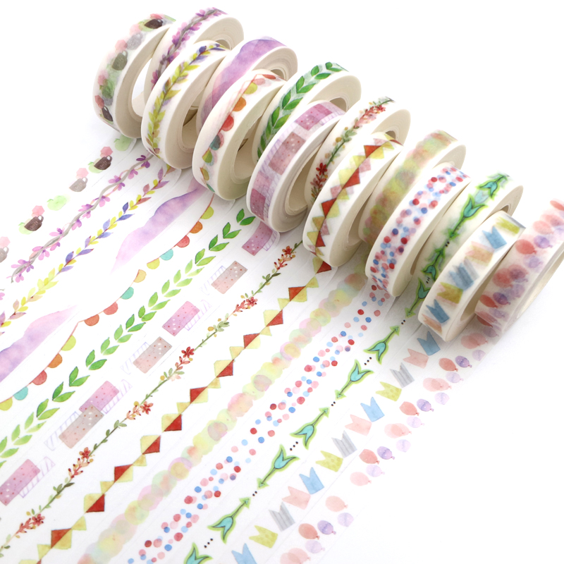 14 Styles 10m*10mm Plants Flowers Watercolor Painting Decorative Tape Adhesive Masking Washi Tape Paper Stickers 1 PCS