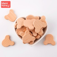 mamihome 10PC 3.2*2.7cm Wooden Beads Bear Head Unfinished DIY Crafts Bracelet Wooden Teething Beads