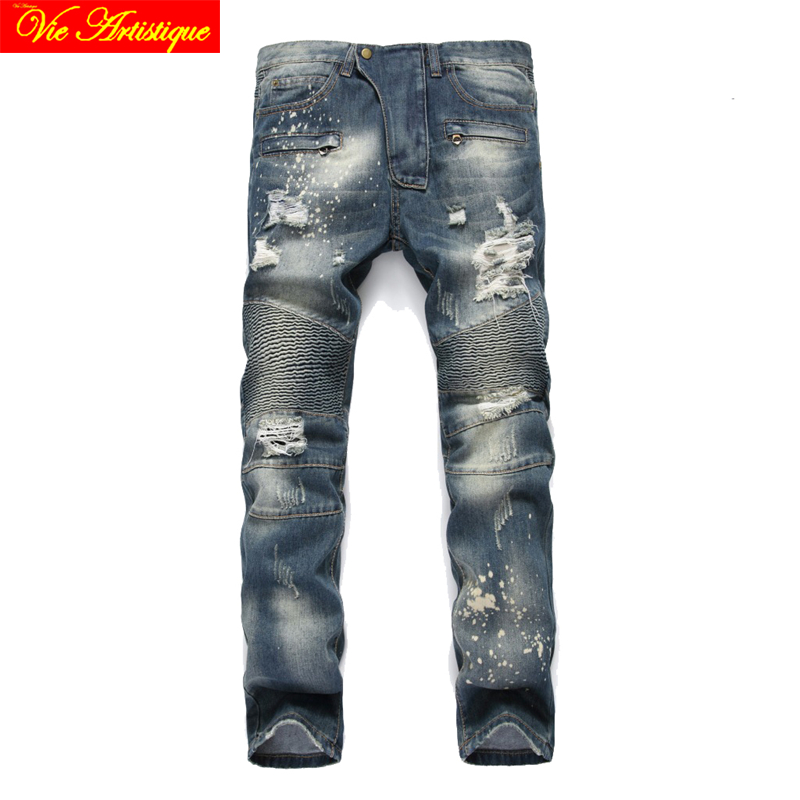 design moto jean slim fit homme balmai jeans mannen heren spijkerbroek white black grey blue skinny gilet costume homme 2018 VA