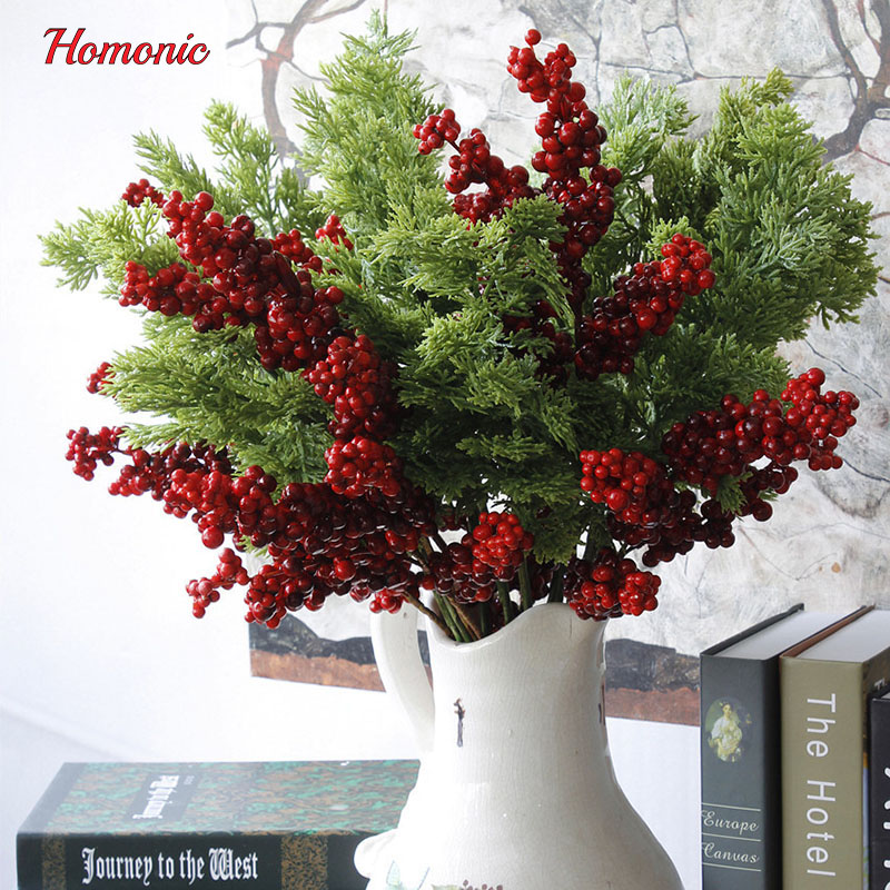 artificial pine cypress bonsai tree branches mini artificial plants foliage diy christmas tree flowers decoration for wedding in artificial plants from home