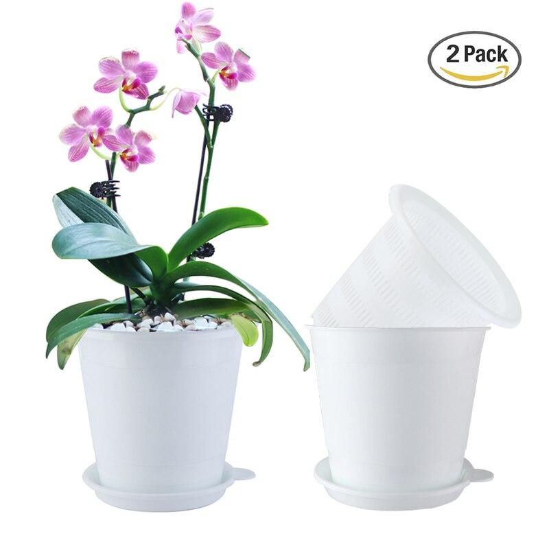 Meshpot 2PCS 4 Inches Slotted Orchid Pot With Holes Plasitc Garden Pot Planter Excellent Drainage,2 Inner Pot,2 Outer Pot,2 TrayFlower Pots & Planters   -