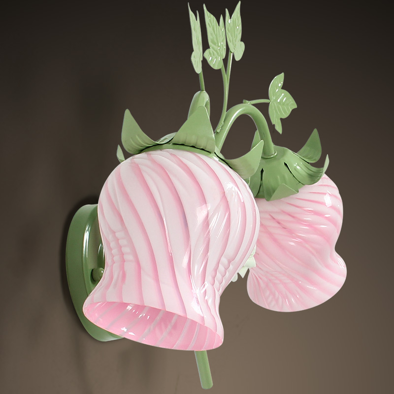Pink flowers and green leaves wall lights 2 lights rustic wrought pink flowers and green leaves wall lights 2 lights rustic wrought iron wall lamp aisle rose lighting e27 lighting for home in led indoor wall lamps from aloadofball Images