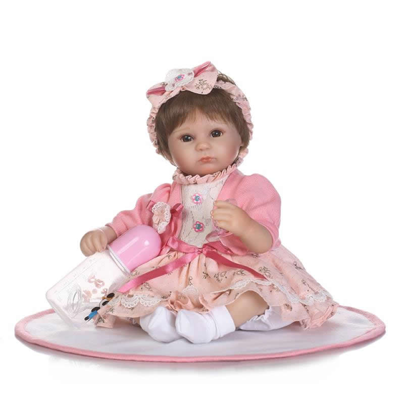 17'' Princess Girl Model Dolls with Skirt Lifelike Reborn Baby Doll Soft Silicone Kids Toy For Sale Infant Birthday Xmas Gifts smile reborn girl with blue dress 22 lifelike baby dolls soft silicone fashion kids toy xmas gifts reborn baby doll for sale