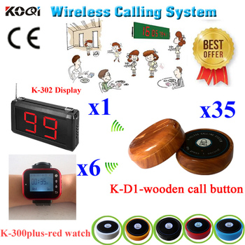 Waiter Call Service Paging System For Restaurant Paging Transmitter Paging 433.92MHZ Frequency(1 display+6 watch+35 call bell )