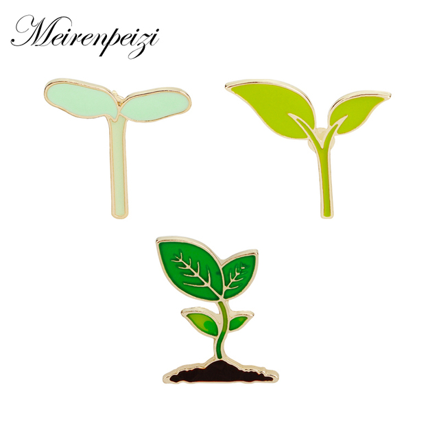 Fashion Cartoon Enamel Brooch Lapel Pins Green Leaves Cactus Plant Sprout Budding Shoot Badge Corsage For Clothes Bags Backpacks