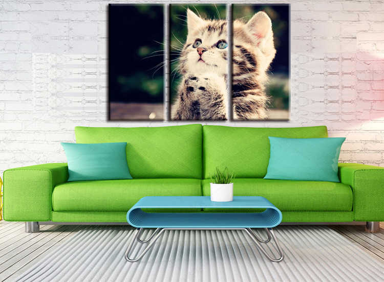 3 pieces / set HD Print Wall Canvas Paintings Cat Art With Animal Poster For Living Room