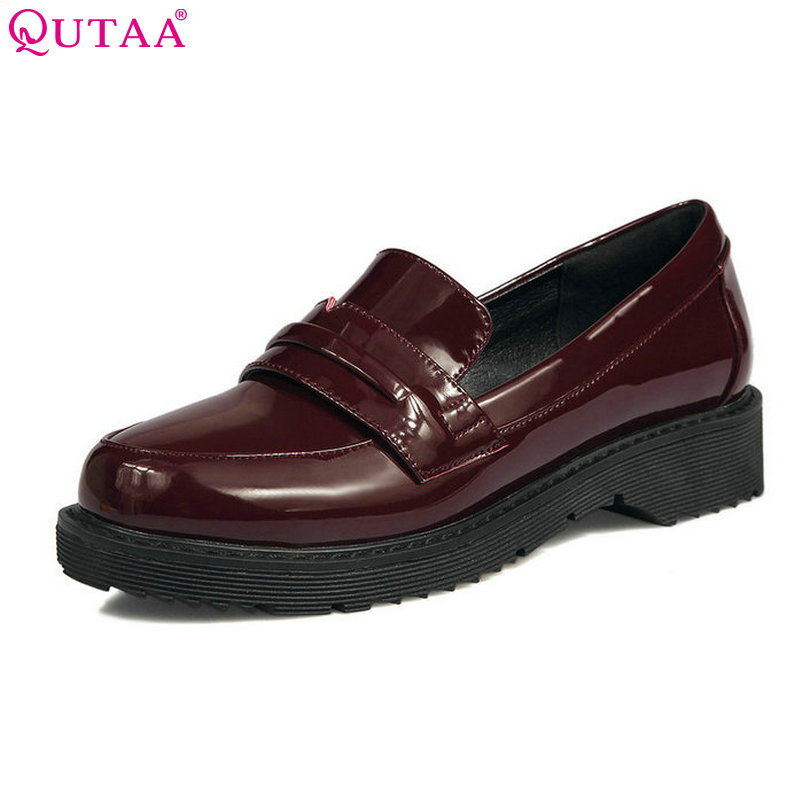 QUTAA 2017 Women Pumps Summer Slip On Ladies Shoe Square Low Heel PU Patent Leather Round Toe Woman Wedding Shoes Size 34-43 the pogues peace and love lp