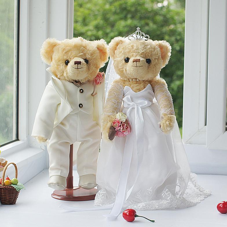 GX210 white silk wedding couple paragraph 5 Bear Cubs, Bear Cubs doll wedding wedding car manufacturers, wholesale брелок blue sky 4s gx 273 gx