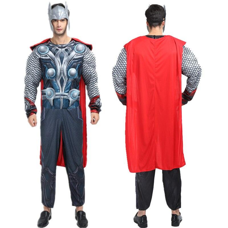 Enthousiast Cosplay Echt Avengers Movie Volwassen Spier Avenger Thor Kostuum Partij Kleding Marvel Superheroes Cape Fancy Jumpsuit Voor Mannen