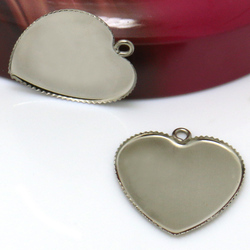 20pcs 25mm Heart Inner Size Stainless Steel Material Simple Style Cabochon Base Cameo Setting Charms Pendant Tray Accessories