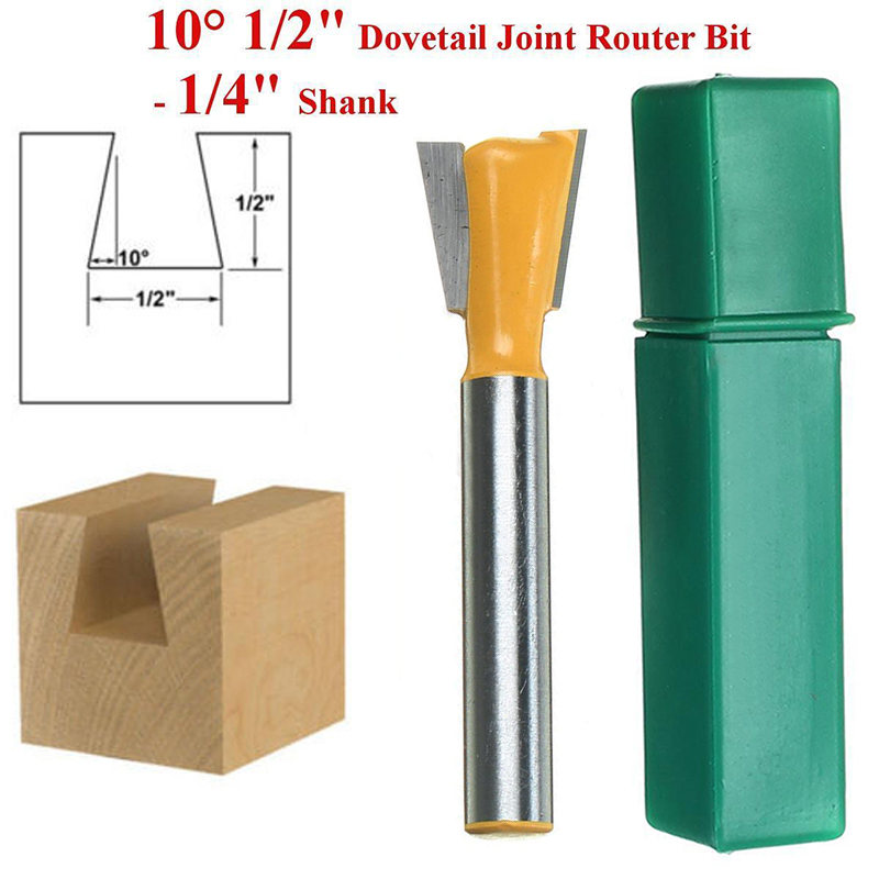 1Pc 1/4'' Shank Carbide Tipped Router Bit 10 Degree Dovetail Joint Woodworking Cutter For Power Tool high grade carbide alloy 1 2 shank 2 1 4 dia bottom cleaning router bit woodworking milling cutter for mdf wood 55mm mayitr