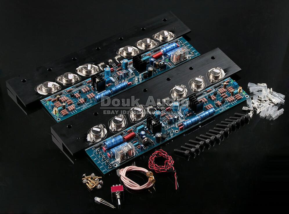 Douk Audio Assembled Dual 2.0 Channel Class A Hifi Power Amplifier Board Inspired by KSA50 Free shipping douk audio latest appj assembled fu32 single ended class a tube amplifier audio power amp board hifi diyer free shipping
