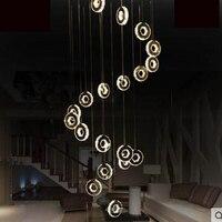 Дуплекс этаже гостиная лампа люстра вилла этаже здания Творческий хрустальная люстра LED современный минималистский лестница вела