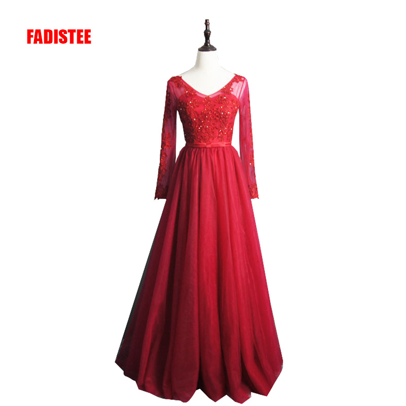 FADISTEE New arrival elegant party   dress     evening     dresses   Vestido de Festa appliques beading gown full sleeve V-opening back