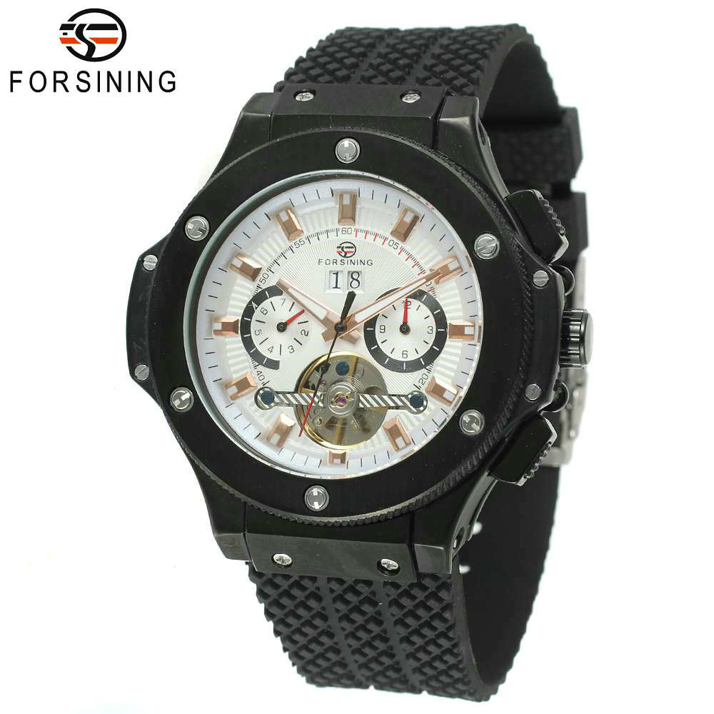 FORSINING Fashion Cool Black Men Tourbillon Mechanical Watch Solid Strap Sub-dial Calendar Date Casual Sports Style Wristwatch men s fashion style mechanical watch tourbillon wristwatch with leather band forsining